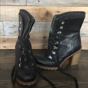 Ugg Heeled Zipper and Lace Up Boot